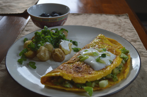 Fresh tomatillo salsa omelet with new potatoes and scallions, served with a simple cup of blueberries
